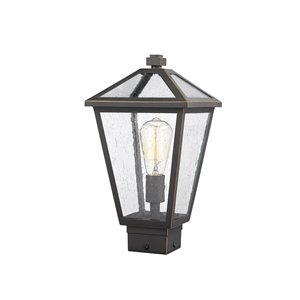 Z-Lite Talbot 1 Light Outdoor Post Mountable Fixture - 8.25-in x 15-in - Rubbed Bronze/Seedy Glass
