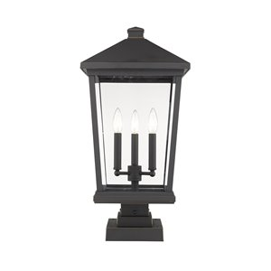 Z-Lite Beacon 3 Light Outdoor Pier Mountable Fixture - 12-in x 24.75-in - Rubbed Bronze/Seedy Glass