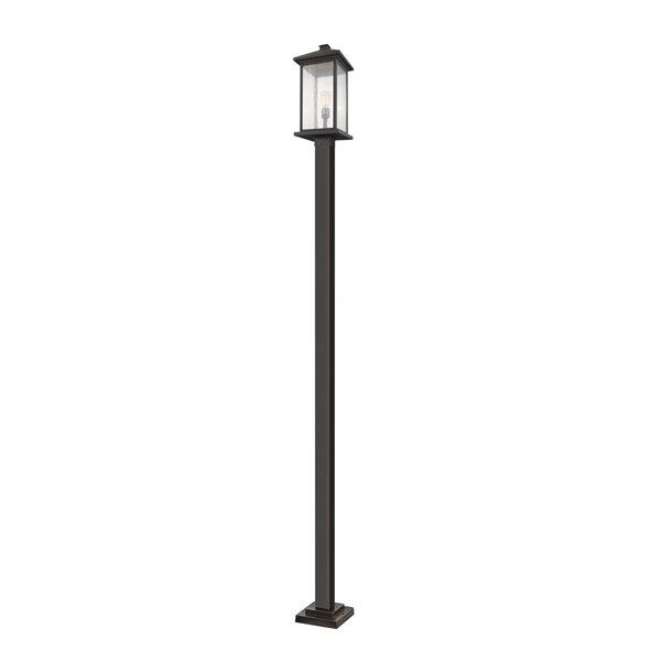 Z-Lite Portland 1 Light Outdoor Post Mounted Fixture - 9.5-in x 117-in - Rubbed Bronze/Seedy Glass