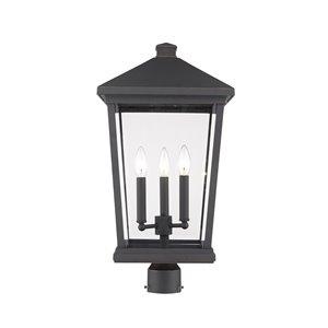 Luminaire d'extérieur montable sur poteau Beacon de Z-Lite à 3 ampoules, 12 po x 23,5 po, bronze frotté/verre clair