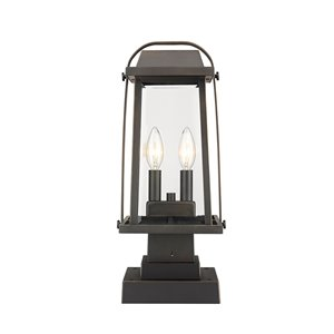 Z-Lite Millworks 2 Light Outdoor Post Mountable Fixture - 7.75-in x 17.75-in - Rubbed Bronze/Clear Glass