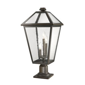 Z-Lite Talbot 3 Light Outdoor Pier Mountable Fixture - 12.25-in x 26.25-in - Rubbed Bronze/Seedy Glass