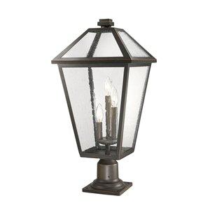 Luminaire d'extérieur montable sur colonne Talbot de Z-Lite à 3 ampoules, 12,25 po x 26,25 po, bronze frotté/verre texturé