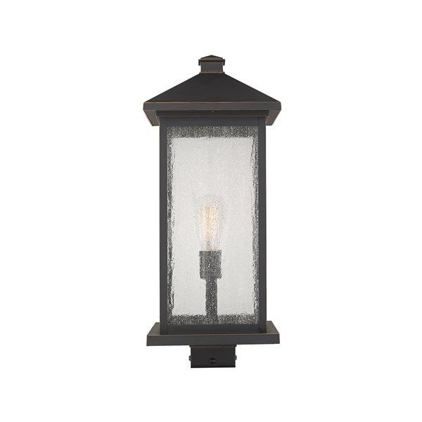 Luminaire d'extérieur montable sur poteau Portland de Z-Lite à 1 ampoule, 9,5 po x 22,5 po, bronze frotté/verre clair
