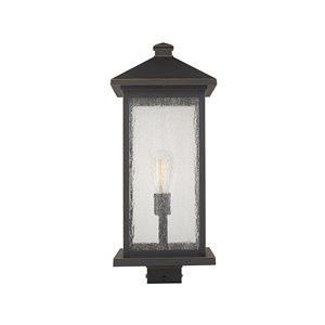 Z-Lite Portland 1 Light Outdoor Post Mounted Fixture - 9.5-in x 22.5-in - Rubbed Bronze/Clear Glass