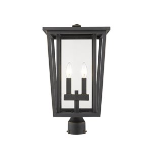 Z-Lite Seoul 2 Light Outdoor Post Mountable Fixture - 11.25-in x 19.75-in - Rubbed Bronze/Clear Glass