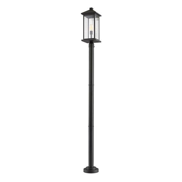 Luminaire à 1 ampoule d'extérieur Portland de Z-Lite monté sur poteau, 9,5 po x 97 po, noir/verre clair