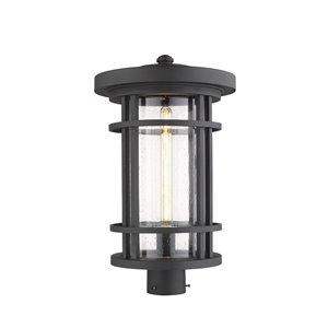 Z-Lite Jordan 1 Light Outdoor Post Mountable Fixture - 12-in x 20.25-in - Black/Seedy Glass