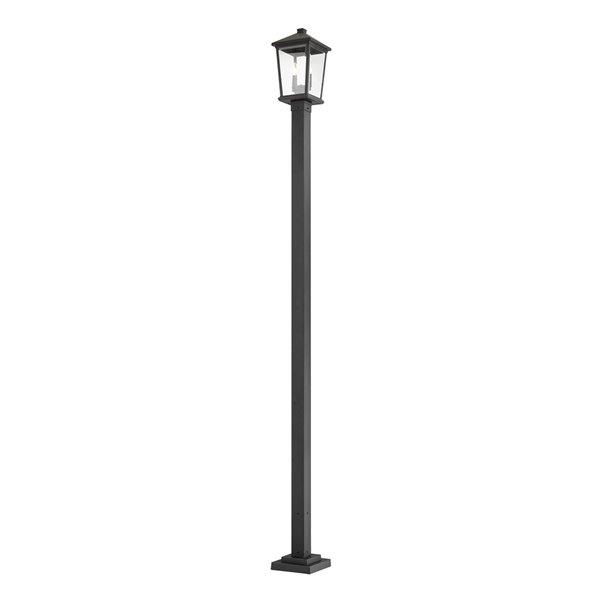 Luminaire à 2 ampoules d'extérieur Beacon de Z-Lite monté sur poteau, 9,5 po x 104,5 po, noir/verre clair