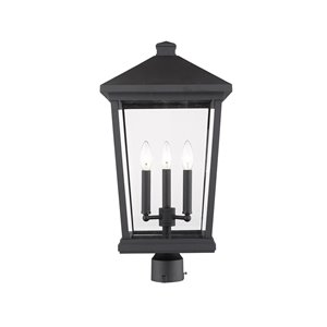 Z-Lite Beacon 3 Light Outdoor Post Mountable Fixture - 12-in x 23.5-in - Black/Clear Glass