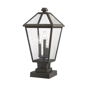 Z-Lite Talbot 3 Light Outdoor Pier Mountable Fixture - 10-in x 21.5-in - Rubbed Bronze/Seedy Glass