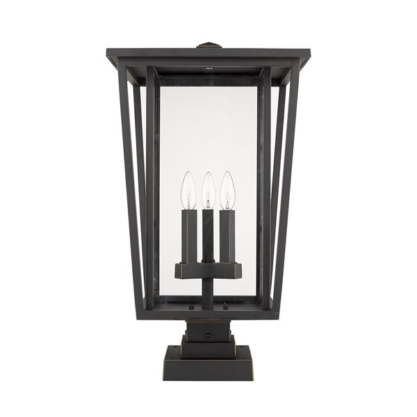 Z-Lite Seoul 3 Light Outdoor Pier Mountable Fixture - 14-in x 24.75-in - Rubbed Bronze/Clear Glass