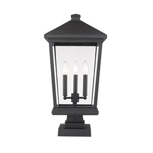 Z-Lite Beacon 3 Light Outdoor Pier Mountable Fixture - 12-in x 24.75-in - Black/Clear Glass