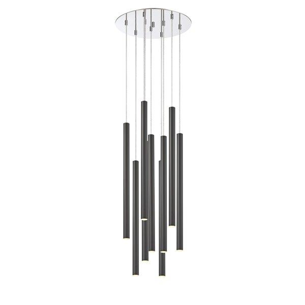 Luminaire pour îlot/billard Forest de Z-Lite à 9 lumières, 16 po x 24 po chrome/noir nacré