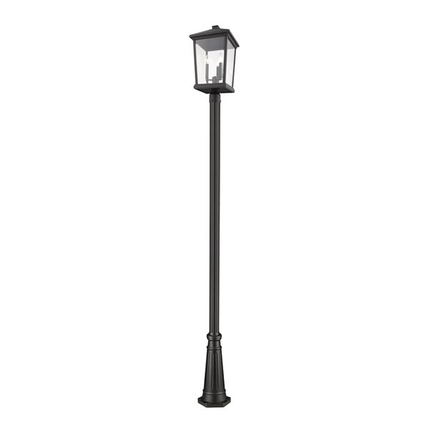 Z-Lite Beacon 3 Light Outdoor Post Mounted Fixture - Textured Base - 12-in x 105.75-in - Black/Clear Glass