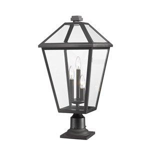 Luminaire d'extérieur montable sur colonne Talbot de Z-Lite à 3 ampoules, 12,25 po x 26,25 po, noir/verre clair