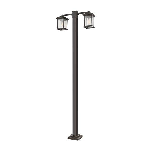 Luminaire à 2 ampoules d'extérieur Portland de Z-Lite monté sur poteau, 8 po x 99 po, bronze frotté/verre texturé
