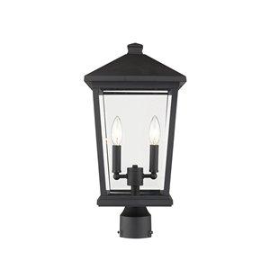 Luminaire d'extérieur montable sur poteau Beacon de Z-Lite à 2 ampoules, 9,5 po x 19,5 po, noir/verre clair