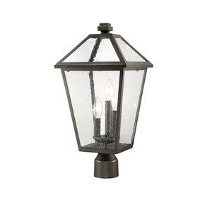 Luminaire d'extérieur montable sur poteau Talbot de Z-Lite à 3 ampoules, 10 po x 20,5 po, bronze frotté/verre texturé