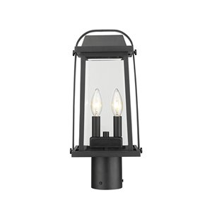 Z-Lite Millworks 2 Light Outdoor Post Mountable Fixture - 7.75-in x 16.75-in - Black/Clear Glass
