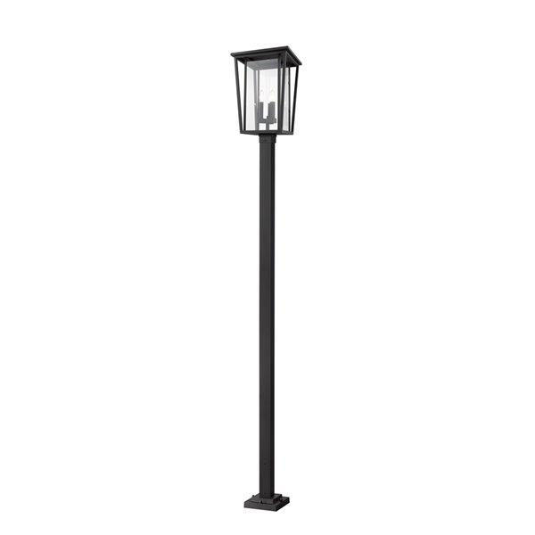 Luminaire à 3 ampoules d'extérieur Séoul de Z-Lite monté sur poteau, 14 po x 117,25 po, noir/verre clair