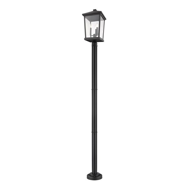 Z-Lite Beacon 3 Light Outdoor Post Mounted Fixture - 12-in x 85.5-in - Black/Clear Glass