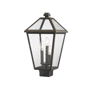 Z-Lite Talbot 3 Light Outdoor Post Mountable Fixture - 10-in x 19-in - Rubbed Bronze/Seedy Glass
