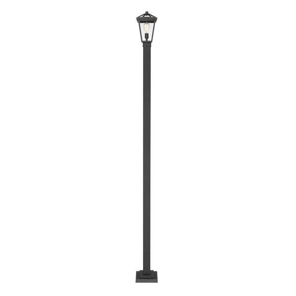 Luminaire à 1 ampoules d'extérieur Talbot de Z-Lite monté sur poteau, 9,75 po x 110 po, noir/verre clair