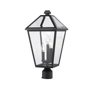 Z-Lite Talbot 3 Light Outdoor Post Mountable Fixture - 10-in x 20.5-in - Black/Clear Glass