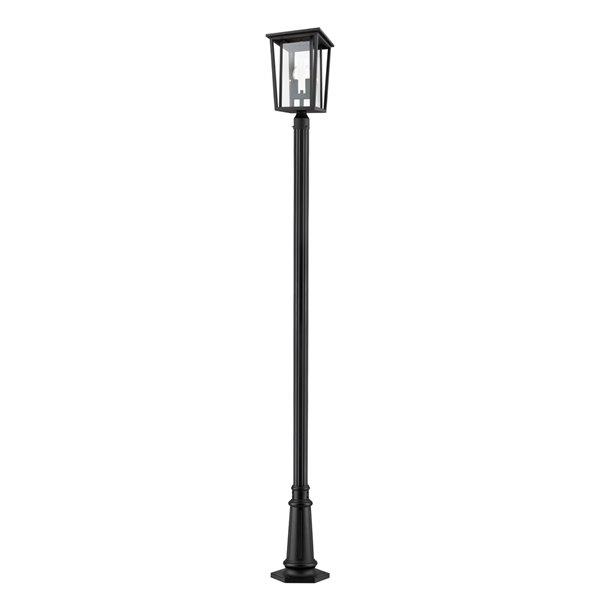 Luminaire à 2 ampoules d'extérieur Séoul de Z-Lite monté sur poteau, 12,5 po x 113,5 po, noir/verre clair