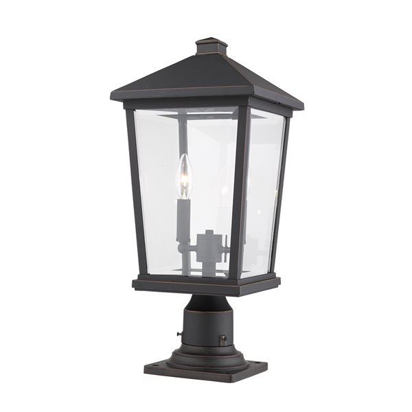 Z-Lite Beacon 2 Light Outdoor Pier Mountable Fixture - 9.5-in x 21.5-in - Rubbed Bronze/Clear Glass