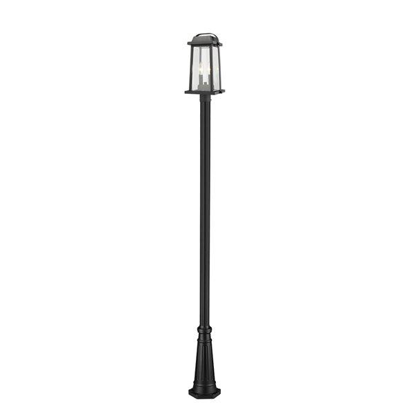 Luminaire à 3 ampoules d'extérieur Millworks de Z-Lite monté sur poteau, 10 po x 110,25 po, noir/verre clair