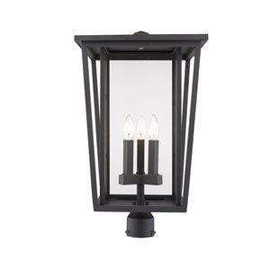 Luminaire d'extérieur montable sur poteau Séoul de Z-Lite à 3 ampoules, 14 po x 24,75 po, bronze frotté/verre clair