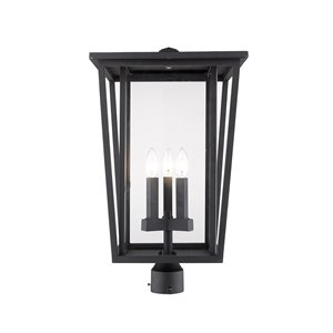 Z-Lite Seoul 3 Light Outdoor Post Mountable Fixture - 14-in x 24.75-in - Black/Clear Glass