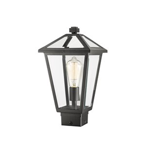 Z-Lite Talbot 1 Light Outdoor Post Mountable Fixture - 8.25-in x 15-in - Black/Clear Glass