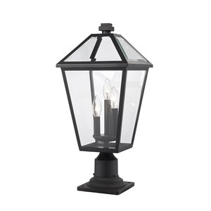 Z-Lite Talbot 3 Light Outdoor Pier Mountable Fixture - 10-in x 22.5-in - Black/Clear Glass
