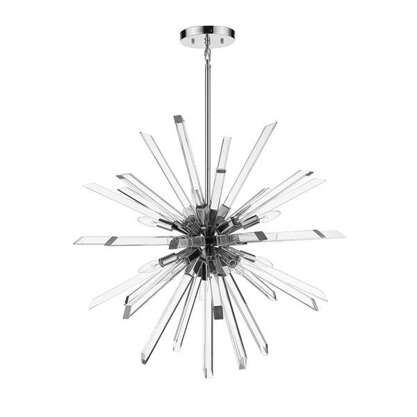 Lustre léger Burst de Z-Lite à 8 lumières, 33,25 po, chrome