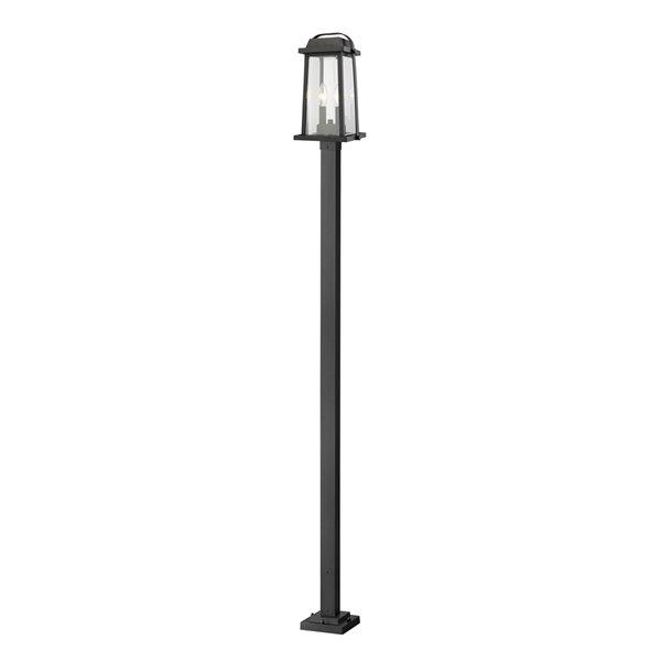 Luminaire à 3 ampoules d'extérieur Millworks de Z-Lite monté sur poteau, 9,25 po x 110,25 po, noir/verre clair