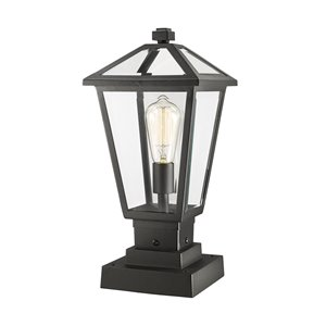 Z-Lite Talbot 1 Light Outdoor Pier Mountable Fixture - 8.25-in x 17.5-in - Black/Clear Glass