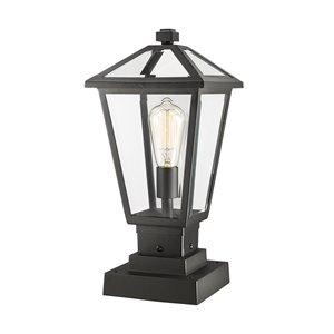 Luminaire d'extérieur montable sur colonne Talbot de Z-Lite à 1 ampoule, 8,25 po x 17,5 po, noir/verre clair
