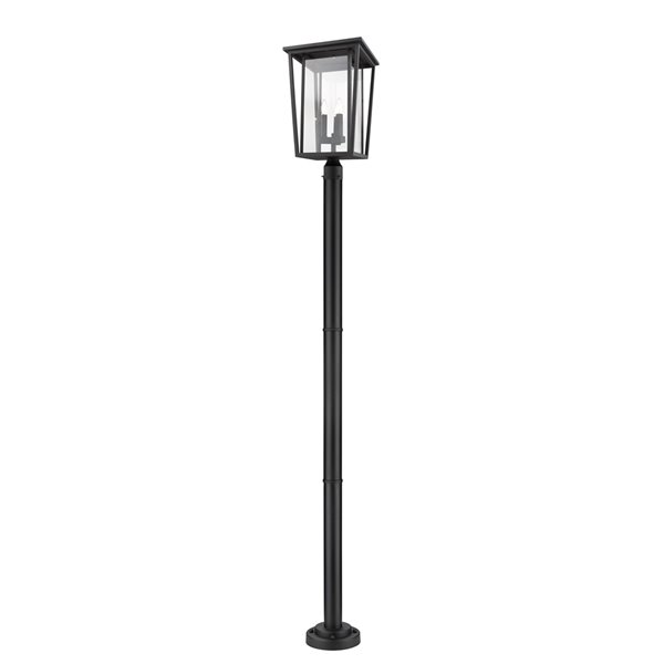 Z-Lite Seoul 3 Light Outdoor Post Mounted Fixture - 14-in x 97.25-in - Black/Clear Glass