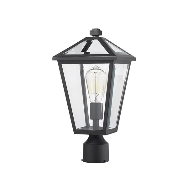 Z-Lite Talbot 1 Light Outdoor Post Mountable Fixture - 8.25-in x 16.5-in - Black/Clear Glass
