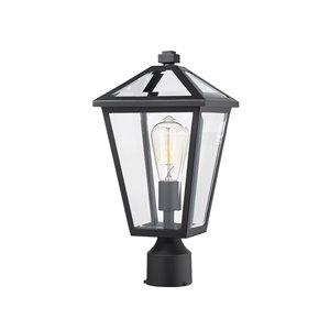 Luminaire d'extérieur montable sur poteau Talbot de Z-Lite à 1 ampoule, 8,25 po x 16,5 po, noir/verre clair