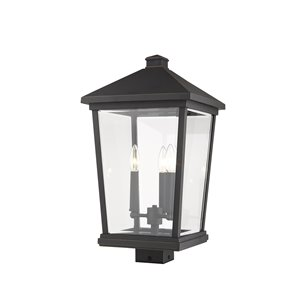 Z-Lite Beacon 3 Light Outdoor Post Mountable Fixture - 12-in x 22.25-in - Rubbed Bronze/Clear Glass