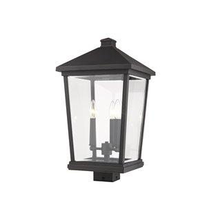 Luminaire d'extérieur montable sur poteau Beacon de Z-Lite à 3 ampoules, 12 po x 22,25 po, bronze frotté/verre clair