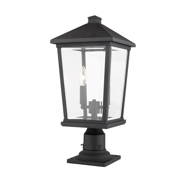 Z-Lite Beacon 2 Light Outdoor Pier Mountable Fixture - 9.5-in x 21.5-in - Black/Clear Glass