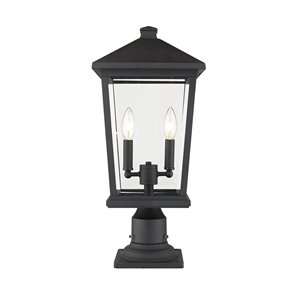 Z-Lite Beacon 2 Light Outdoor Pier Mountable Fixture - 9.5-in x 21.5-in - Black/Clear Glass