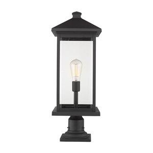 Z-Lite Portland 1 Light Outdoor Pier Mounted Fixture - 9.5-in x 26-in - Black/Clear Glass