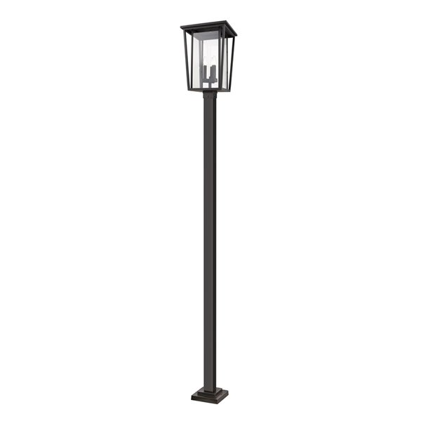 Luminaire à 3 ampoules d'extérieur Séoul de Z-Lite monté sur poteau, 14 po x 117,25 po, bronze frotté/verre clair