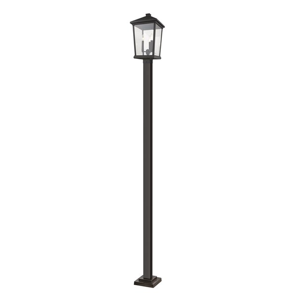 Luminaire à 3 ampoules d'extérieur Beacon de Z-Lite monté sur poteau, 12 po x 107 po, bronze frotté/verre clair